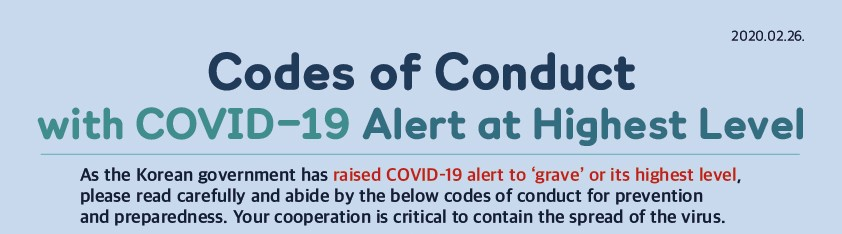 Codes of Conduct with COVID-19 Alert at Highest Level